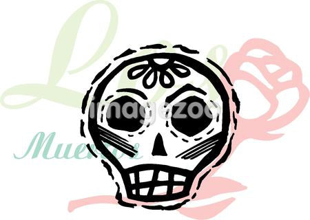 A skull with a rose in background