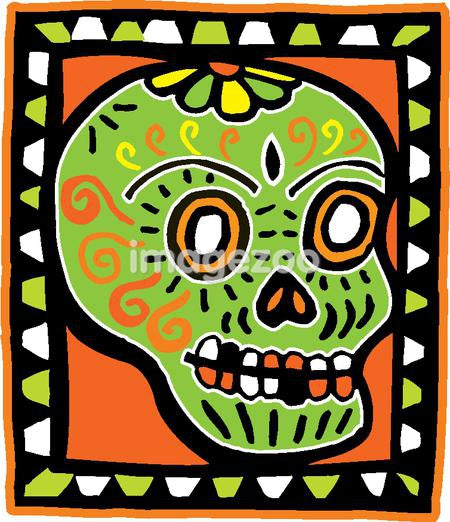 A green skull on an orange background