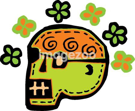 A green skull with flowers represented on a white background