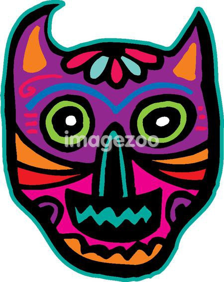 An illustration of a purple cat skull