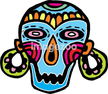 A colorful skull mask with big earrings