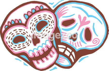 A colored picture of two skulls with a happy and sad expressions