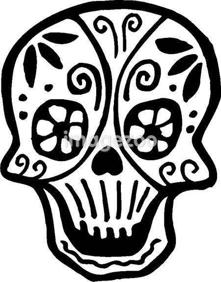 A skull with flowers drawn in black and white