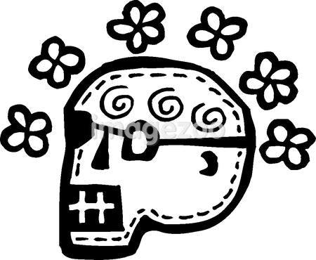 Black and white skull surrounded by flowers