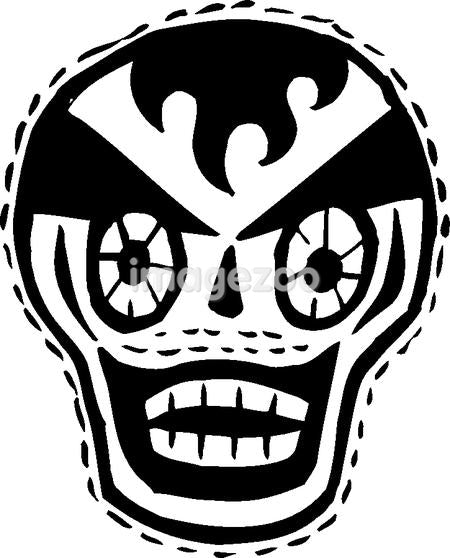 Black and white clown skull