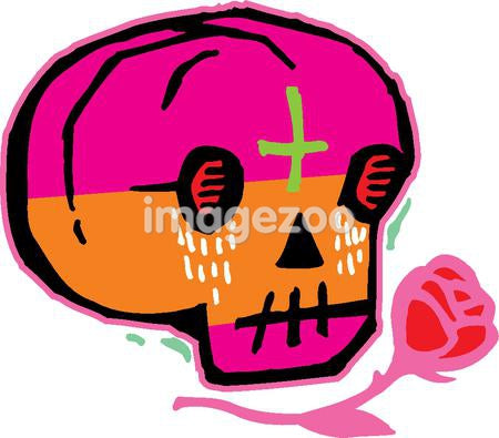 Pink and orange skull with red rose