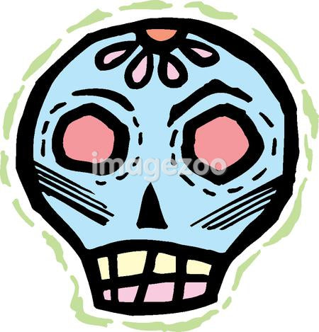 Blue skull with rough green border