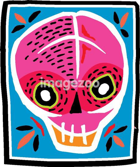 Pink and red skull with black border