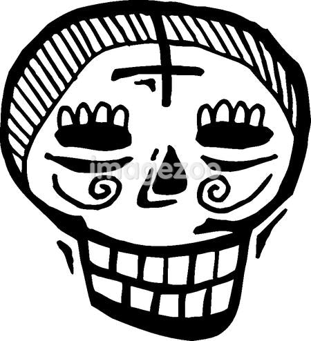 Black and white skull with cross on forehead