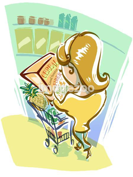 A woman reading a nutrition label