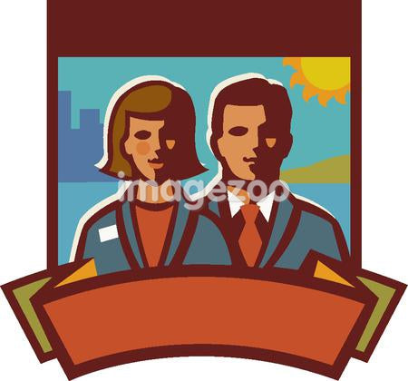Illustration of a businessman and a businesswoman