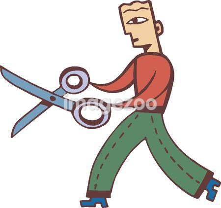 Illustration of a businessman holding a pair of giant scissors