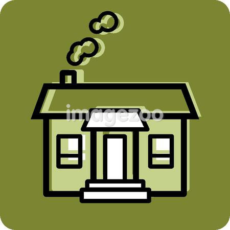 Illustration of a house on a green background