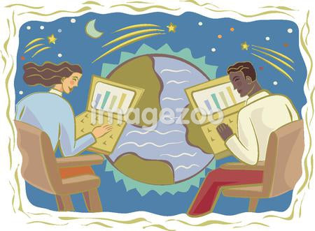 Illustration of two people communicating across the globe via email