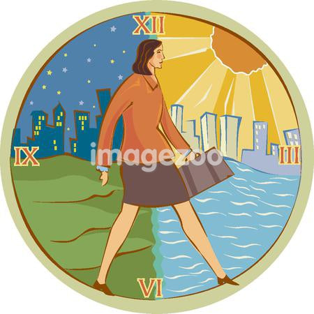 Illustration of a woman walking from night to day