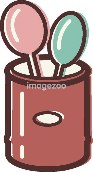 Illustration of a canister holding mixing spoons
