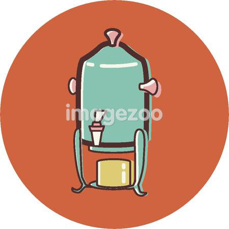 Illustration of a coffee urn on an orange background