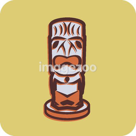 Illustration of a totem pole on a yellow background