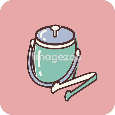 Illustration of an ice bucket on a pink background