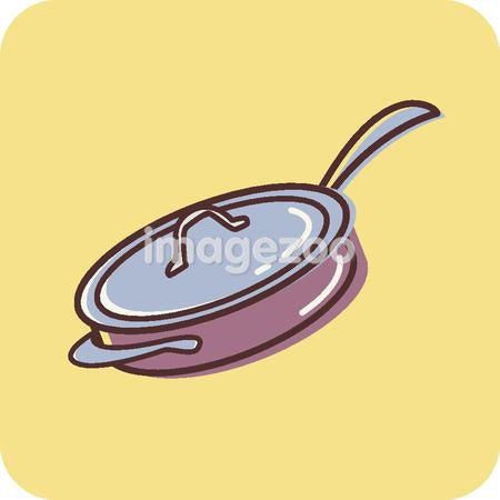 Illustration of a pan on a yellow background