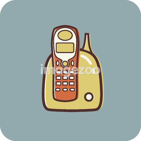 Illustration of a cordless phone on a blue background