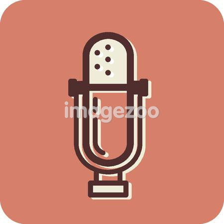 Illustration of a microphone on an orange background