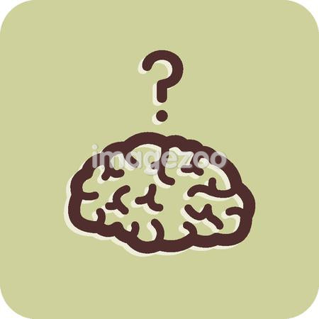Illustration of a brain with a question mark above it