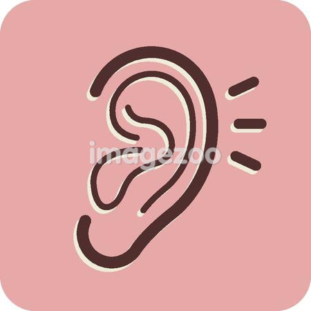 Illustration of an ear on a pink background