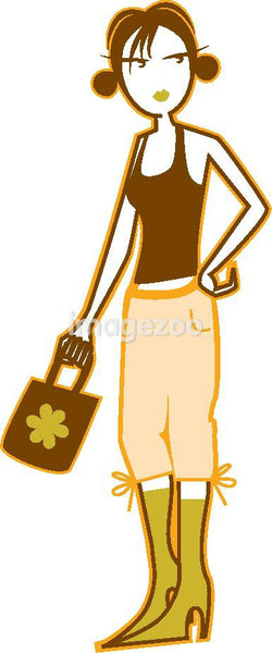 Illustration of a girl holding a purse
