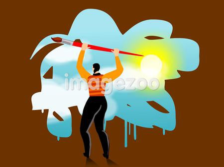 A businessman painting a sky scene with a giant paintbrush