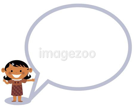 Illustration of a girl standing next to a speaking bubble