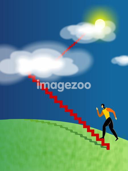 A businessman climbing stairs that lead to the clouds