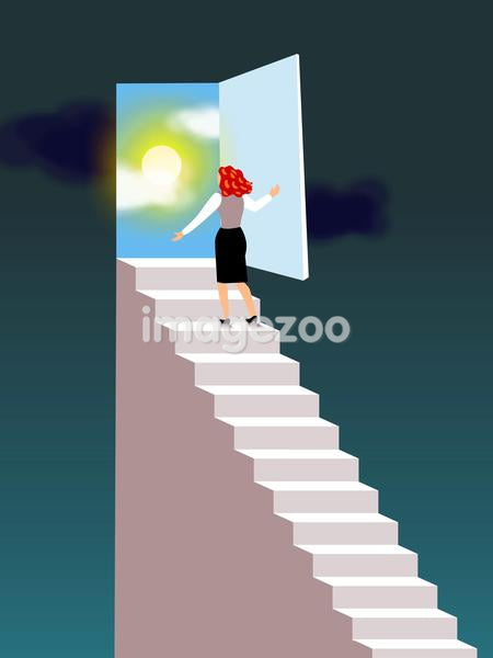 A businesswoman walking up the stairs through a door that leads to a sunny sky