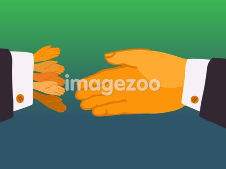 A large hand shaking hands with five little hands