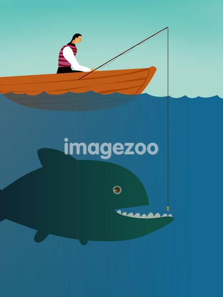 A businessman on a boat trying to catch a big fish