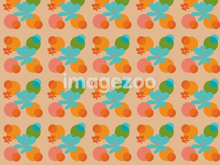 A colorful pattern of shapes and flowers