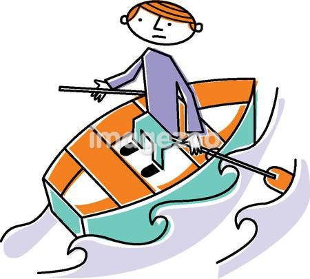 A man rowing a boat