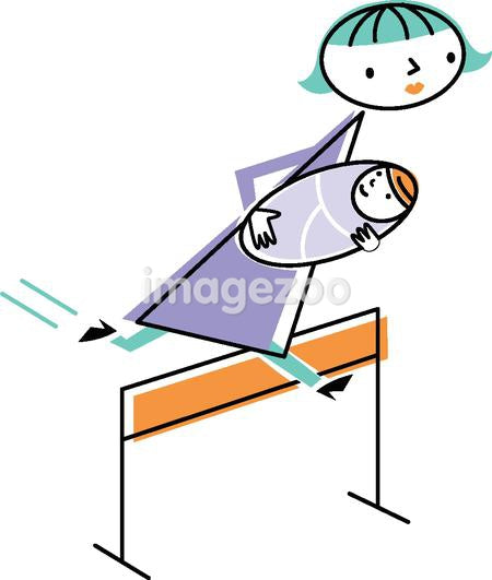 A woman jumping over a hurdle