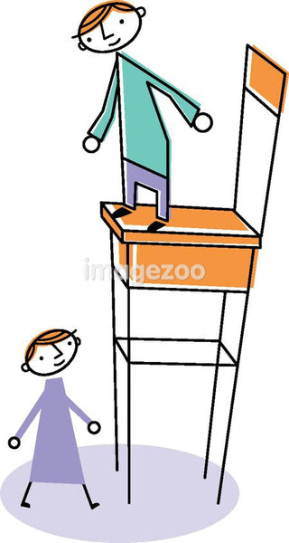 A man on a high chair with a woman standing below