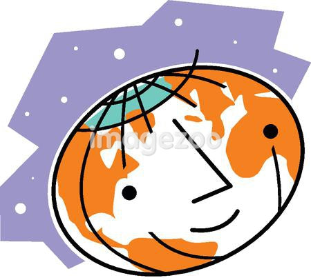 A smiling world globe