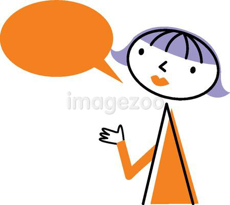 A woman with a speech bubble