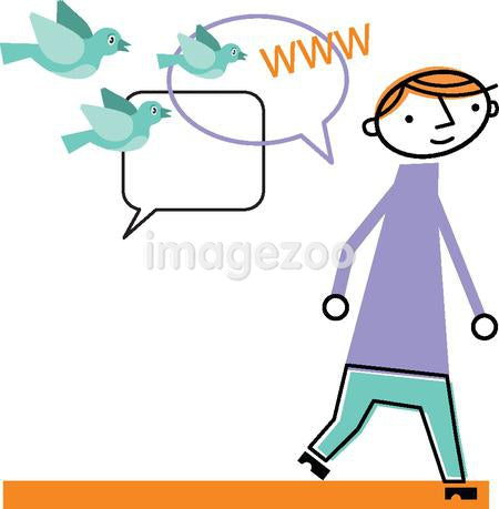 Man walking with speech bubbles and birds following him
