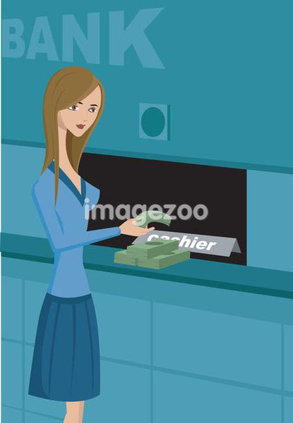 A woman taking cash from a bank
