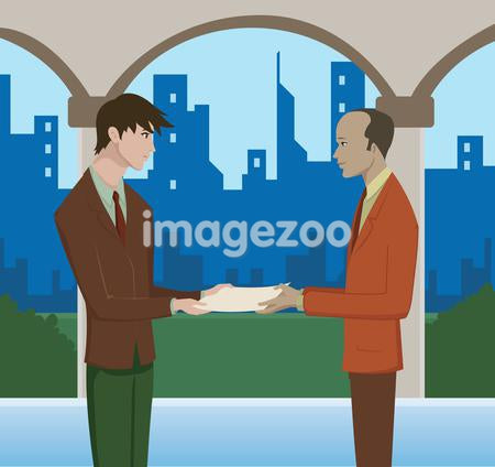 A man handing over documents to another man