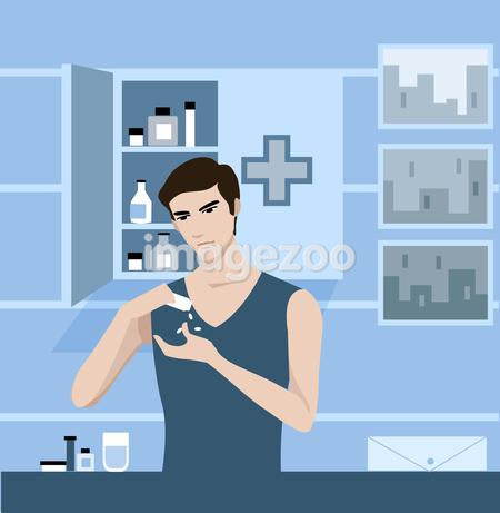 A man getting pills from a medicine cabinet