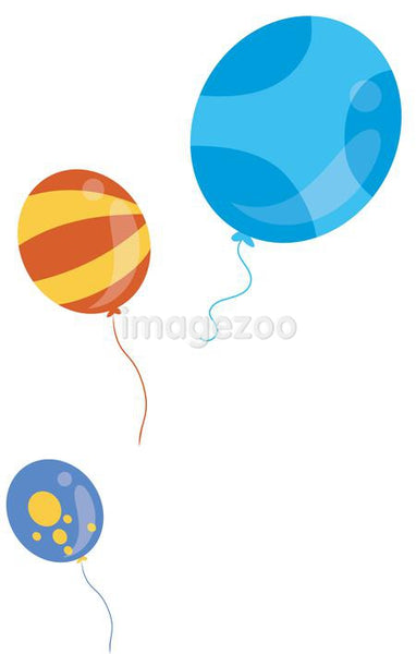 Three colorful balloons