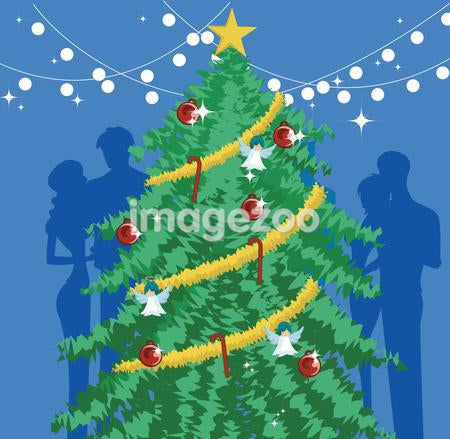 A decorated Christmas tree with silhouettes behind it