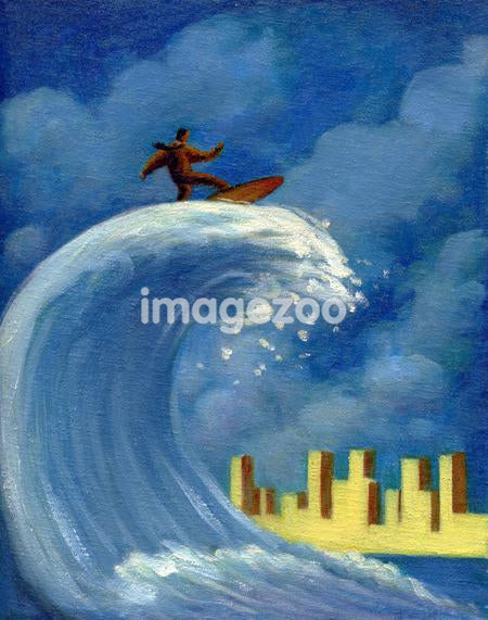 A businessman  surfing