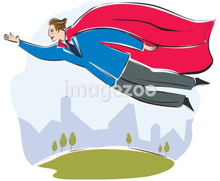 A businessman with a large red cape flying