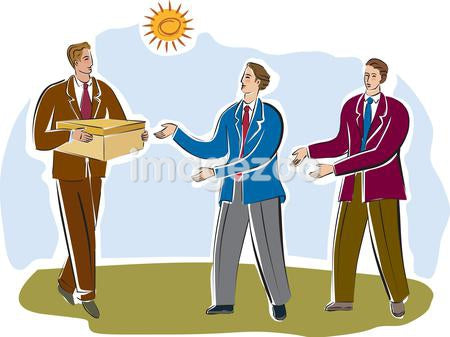 Three businessmen passing a package